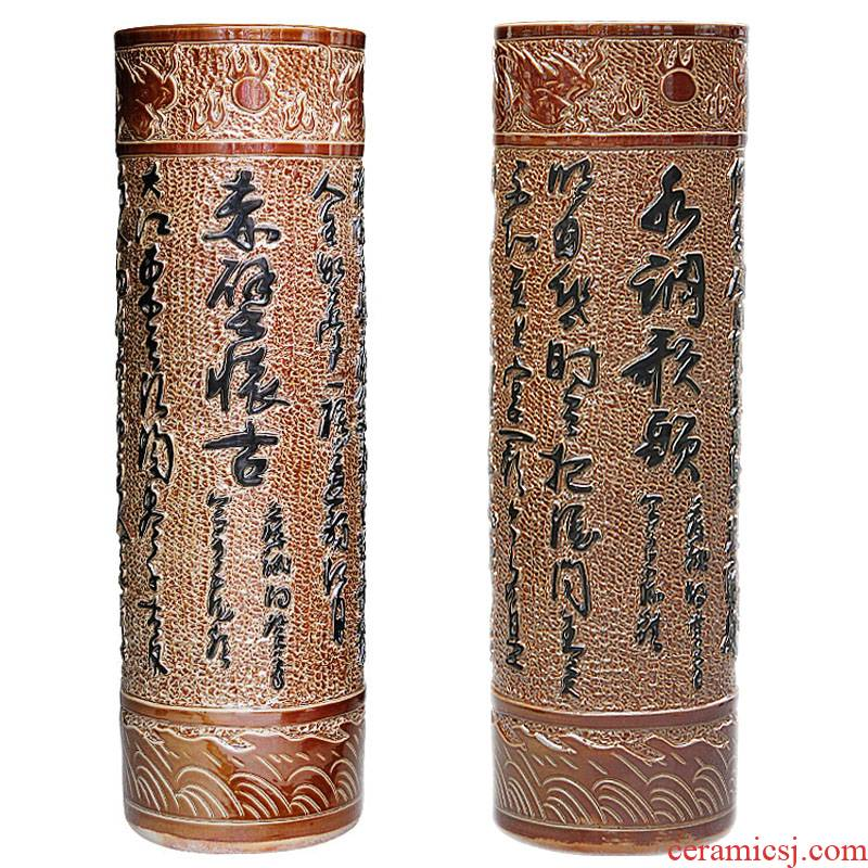 Sf80 jingdezhen ceramic floor painting and calligraphy quiver to big vase Chinese decorative furnishing articles large living room