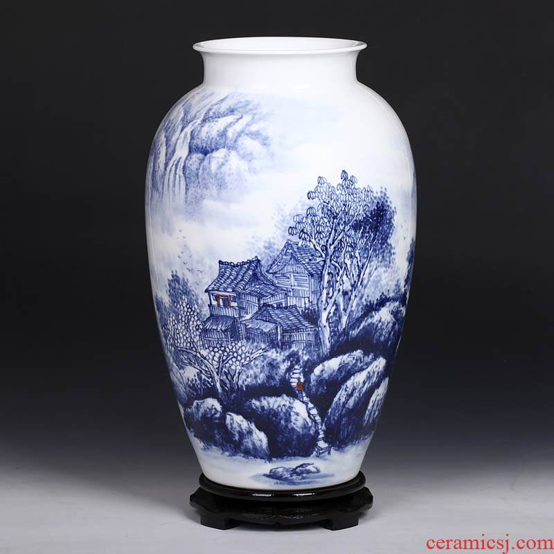 The Master of jingdezhen ceramics hand - made the village people of blue and white porcelain vase modern home fashion crafts