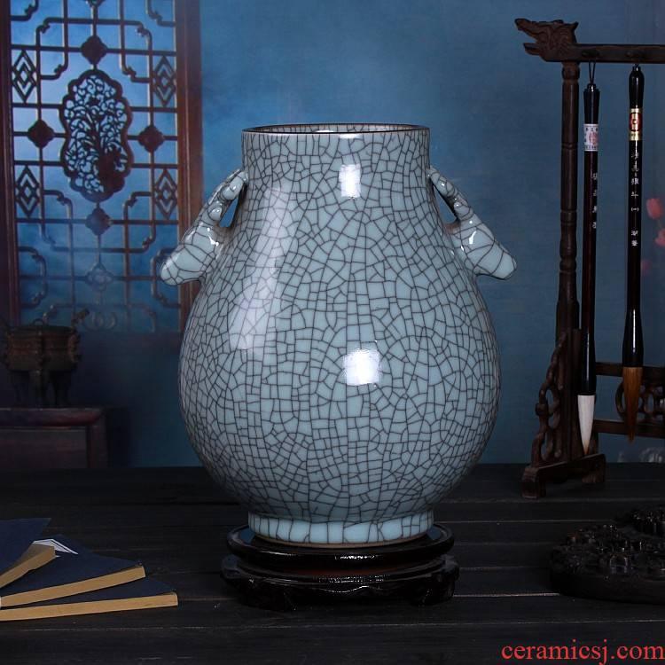 Jingdezhen ceramic vases royal porcelain open piece of crack glaze antique Chinese penjing sitting room porch decoration
