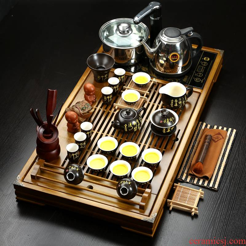 ZongTang full set of violet arenaceous kung fu tea set has a complete set of ceramic tea tea tea four one solid wood tea tray package
