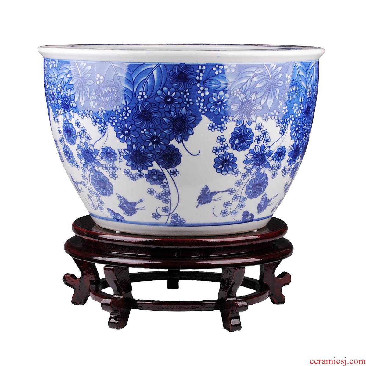 Blue and white porcelain of jingdezhen ceramics goldfish bowl the tortoise cylinder landing a large aquarium home furnishing articles water lily and practical