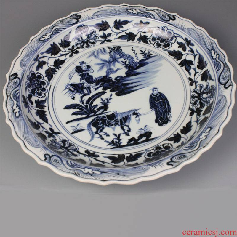 Jingdezhen ceramics imitation of yuan blue and white Xiao Heyue after han xin decoration plate of archaize sitting room adornment is placed under the large size