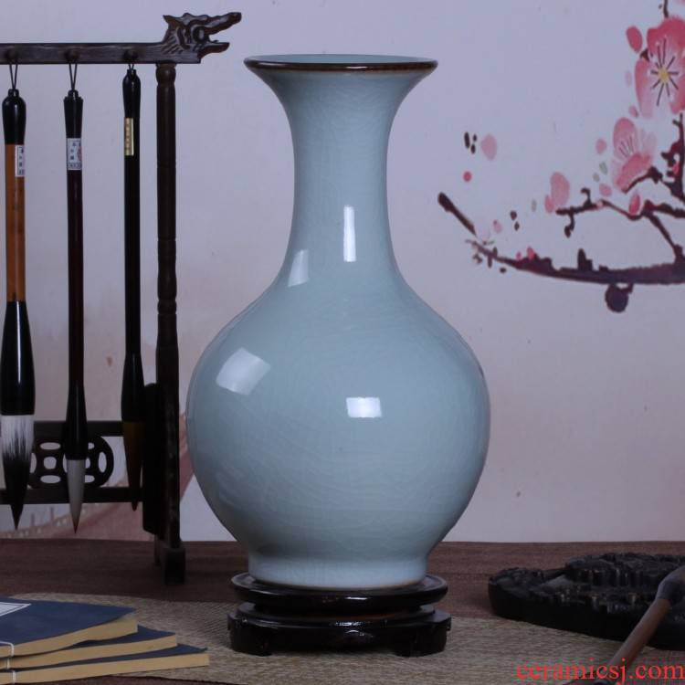 Archaize of jingdezhen ceramic up crack shadow blue glaze vase household adornment handicraft decoration furnishing articles sitting room