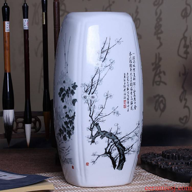 Jingdezhen ceramics sifang lucky bamboo vase table sitting room adornment flower art handicraft furnishing articles