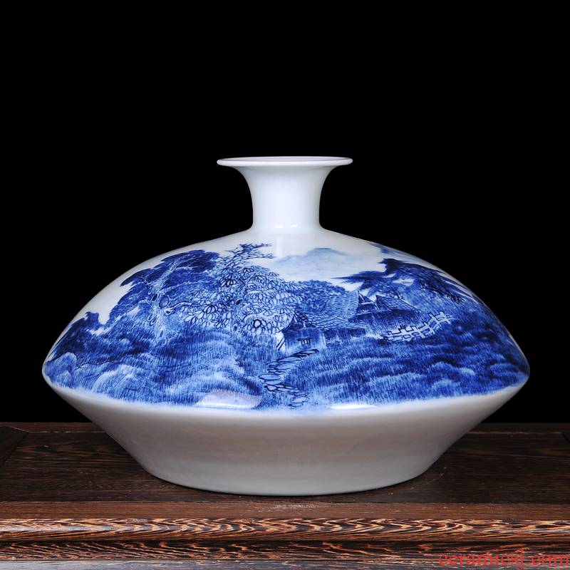 Jingdezhen ceramics famous hand - made scenery flat belly modern blue and white porcelain vase new classical household crafts