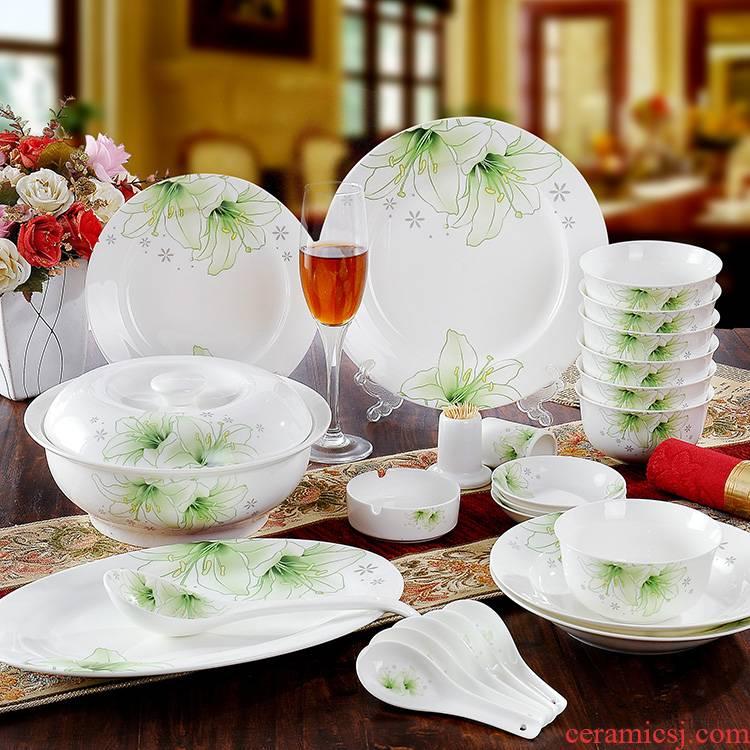 56 the head top grade ipads ipads porcelain tableware jingdezhen porcelain bowl dish bowl dish dish the leaf of green meet gift set