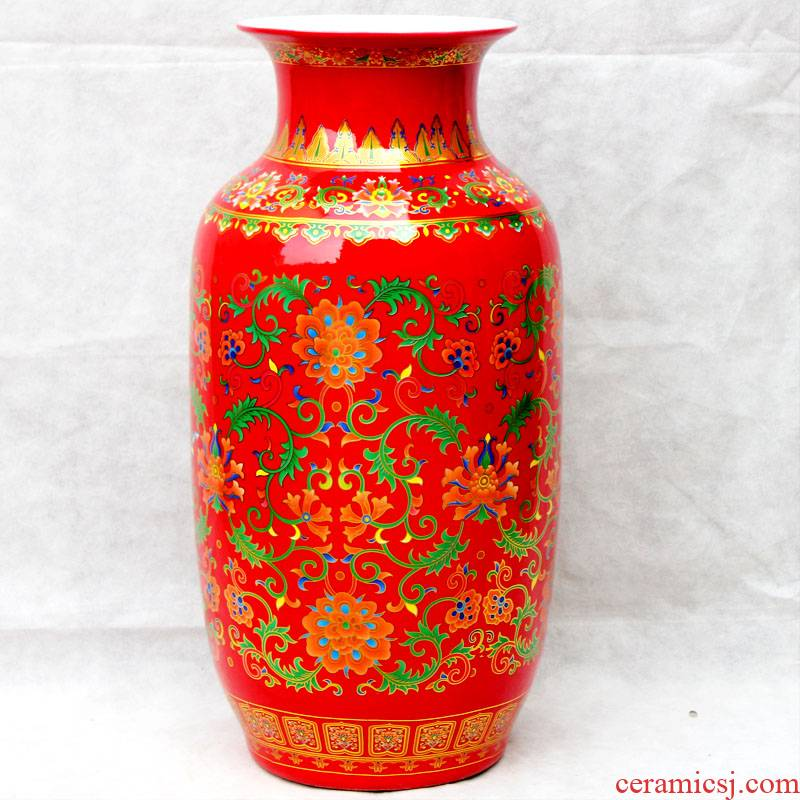 Jingdezhen ceramics China red vase furnishing articles household act the role ofing is tasted Chinese style porch decoration process large living room