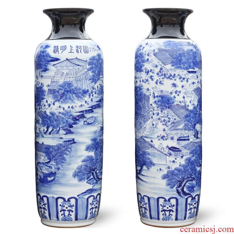 Jingdezhen ceramic hand - made large blue and white porcelain vase qingming scroll villa hotel furnishing articles large living room