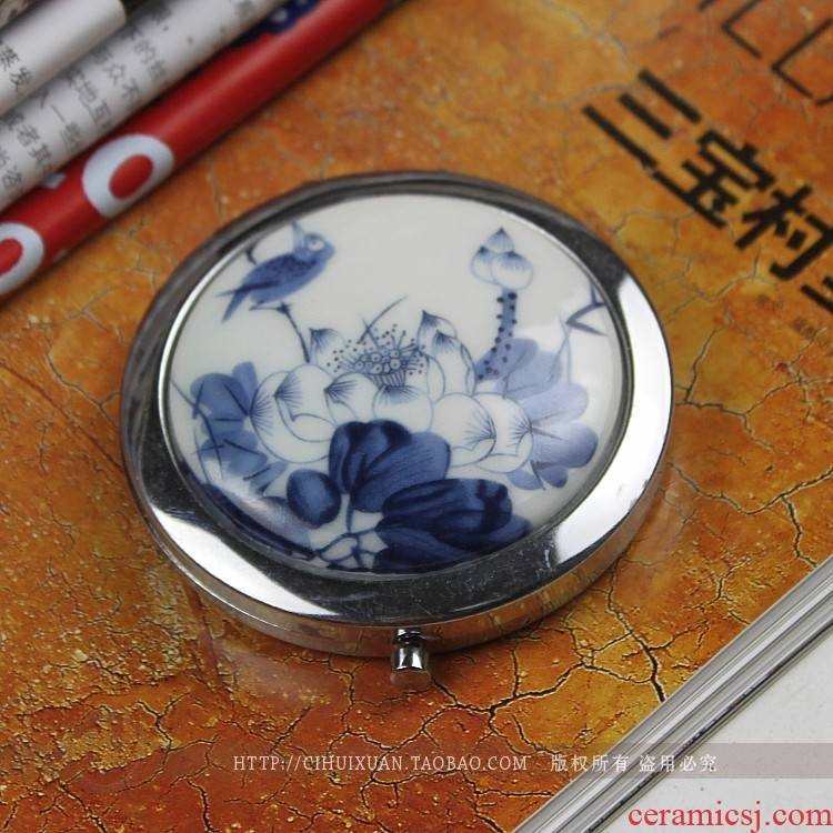 Jingdezhen ceramic checking portable cosmetic mirror/folding the vanity mirror mirror a birthday present