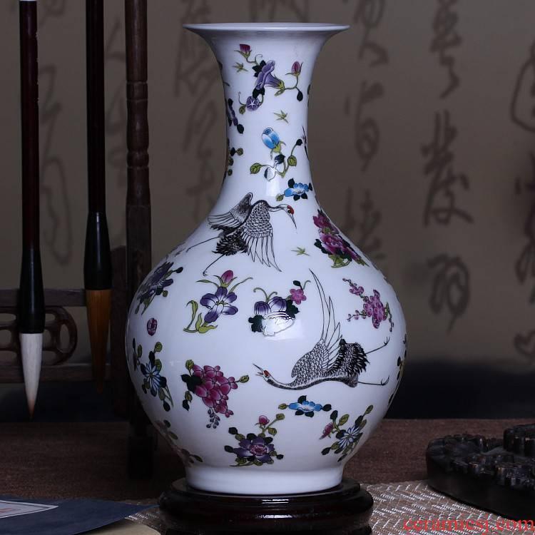 Jingdezhen ceramics powder enamel luminous vase living room flower arranging furnishing articles household decorations arts and crafts