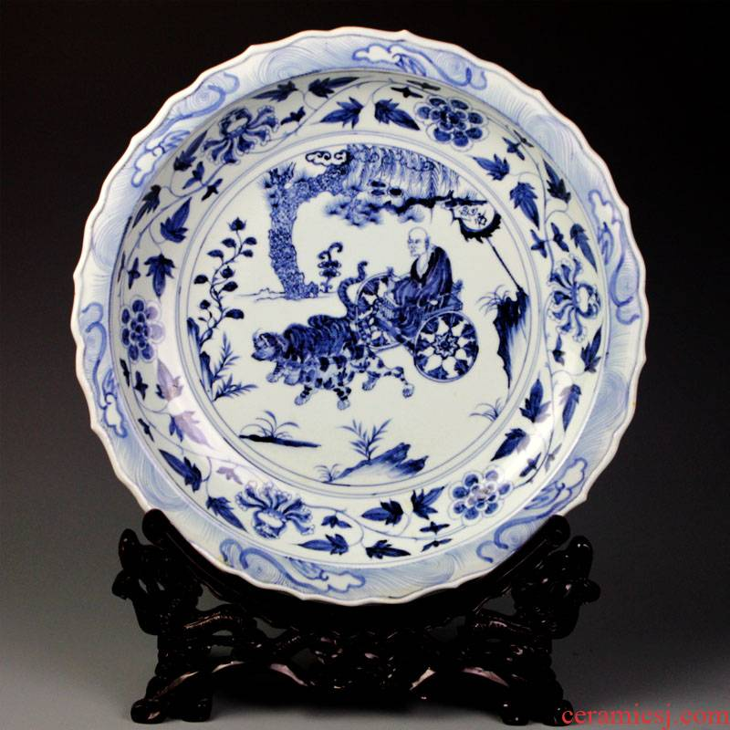 Imitation of yuan blue and white porcelain of jingdezhen ceramics decoration plate sits plate of archaize sitting room porch decoration handicraft furnishing articles