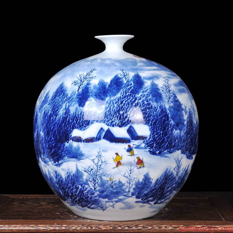 The Master of jingdezhen ceramics hand - made snow small expressions using the and heavily vase of blue and white porcelain gifts home crafts