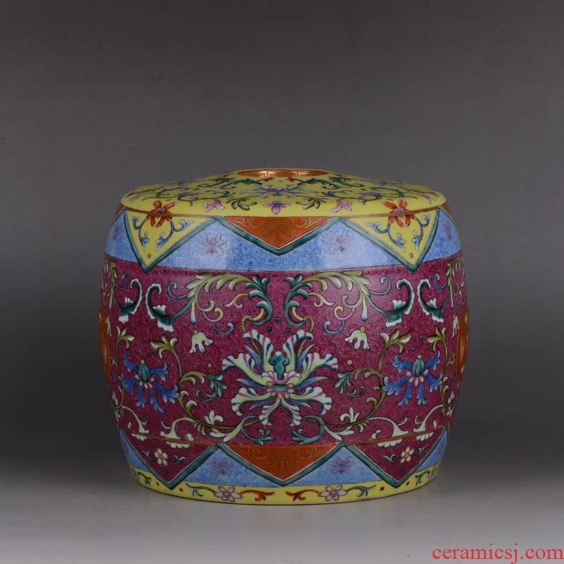 Pianology picking archaize of jingdezhen porcelain enamel climbing flower drum who wedding gift hand pressure