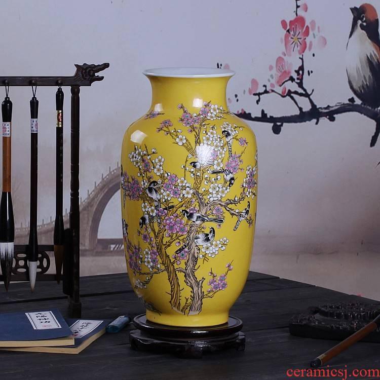 Beaming powder enamel vase in the jingdezhen ceramics, hand - made home decoration furnishing articles sitting room mesa vase