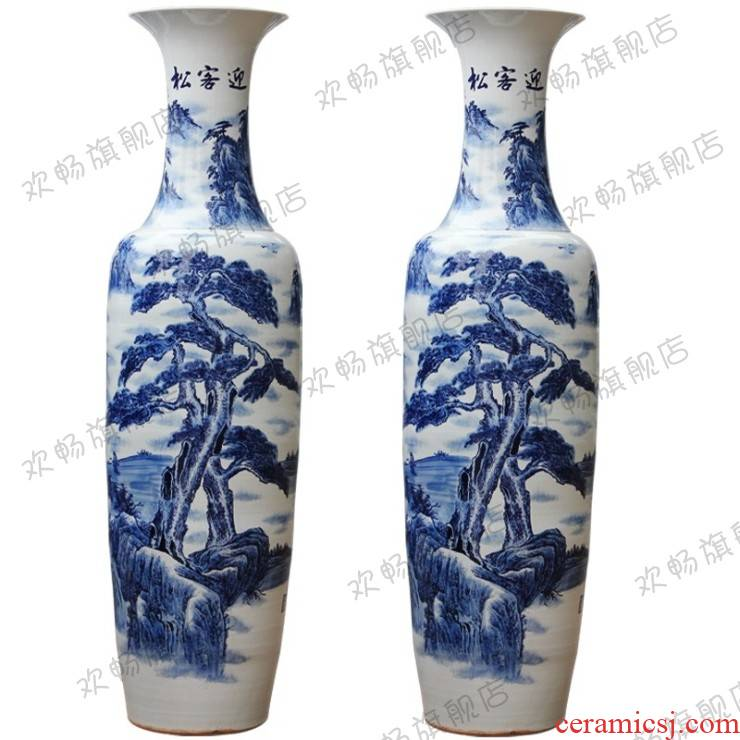 Jingdezhen ceramics hand - made guest - the greeting pine high landing craft large blue and white porcelain vase sitting room hotel decoration furnishing articles