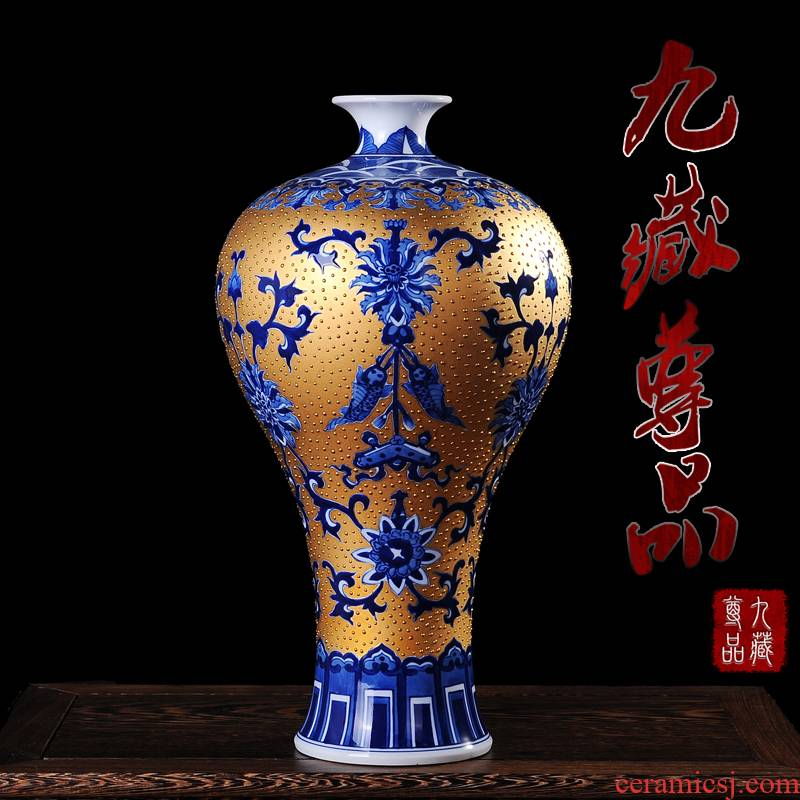 Jingdezhen ceramics gold hand - made name plum bottle vases, flower receptacle modern fashion contracted sitting room handicraft furnishing articles