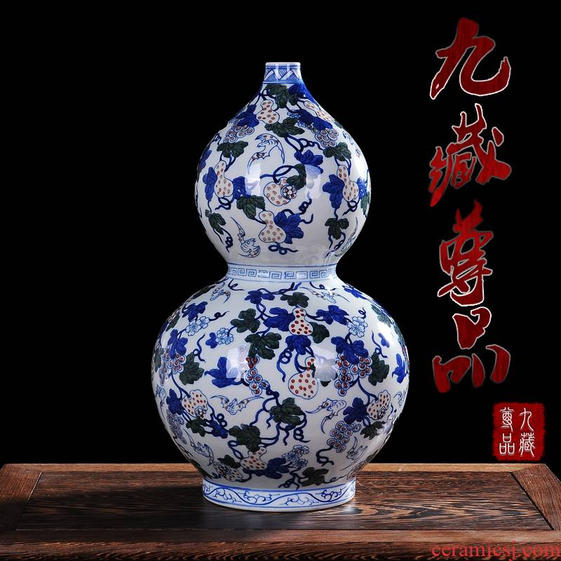 Antique vase of blue and white porcelain of jingdezhen ceramics youligong gourd bottle of home sitting room handicraft furnishing articles