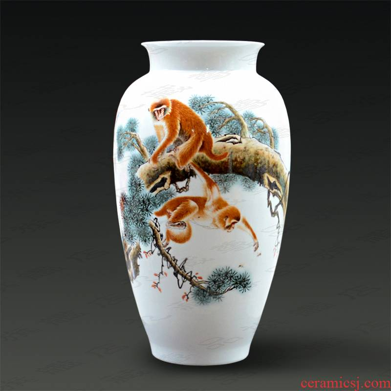 Jingdezhen ceramics Yu Zhao rev master hand - made powder enamel vase from hou figure household handicraft furnishing articles