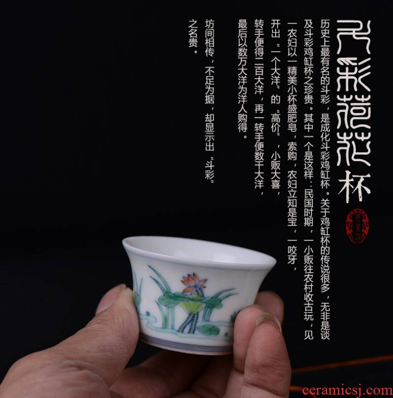 Pianology picking jingdezhen hand - made antique porcelain cup bucket color lotus tea leisure gift and furnishing articles