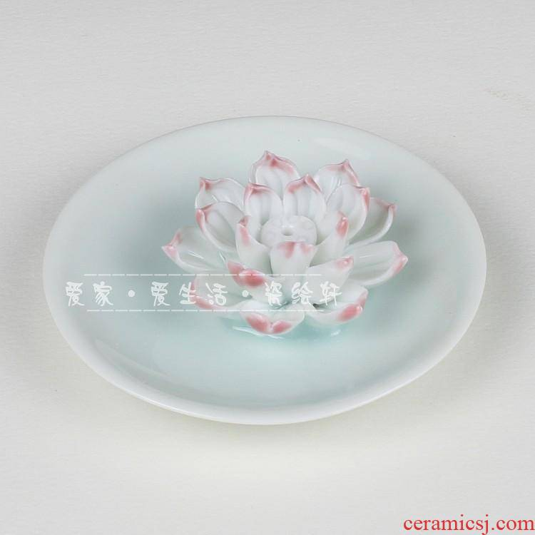 Ceramic and lotus fragrance put desk tray incense inserted sweet home dish incense buner in joss stick vertebral fragrant lotus