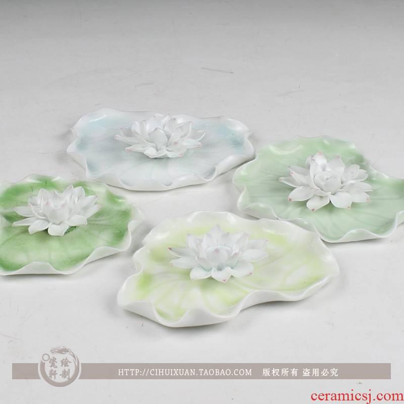 Checking out ceramic heart lotus lotus ice cracked grain volume pills sweet incense joss stick inserted vertebral dish incense buner