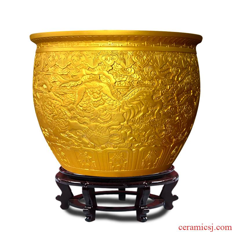 Jingdezhen ceramics multi - purpose storage carved golden vats, the adornment that occupy the home furnishing articles opening gifts jg1