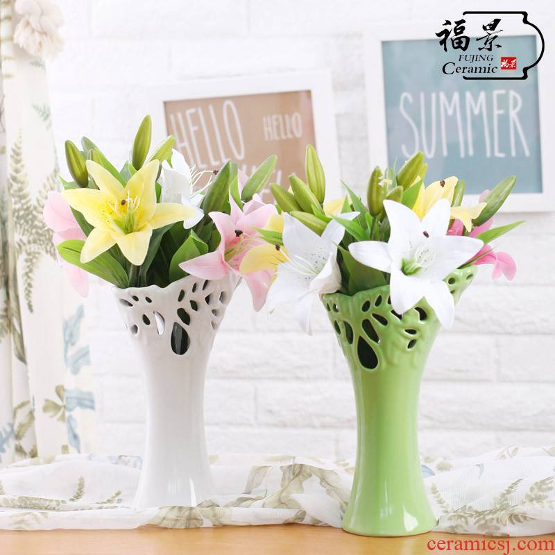 Furnishing articles at home sitting room scene vase creative ceramic bevel marriage TV ark, decoration decoration modern arts and crafts