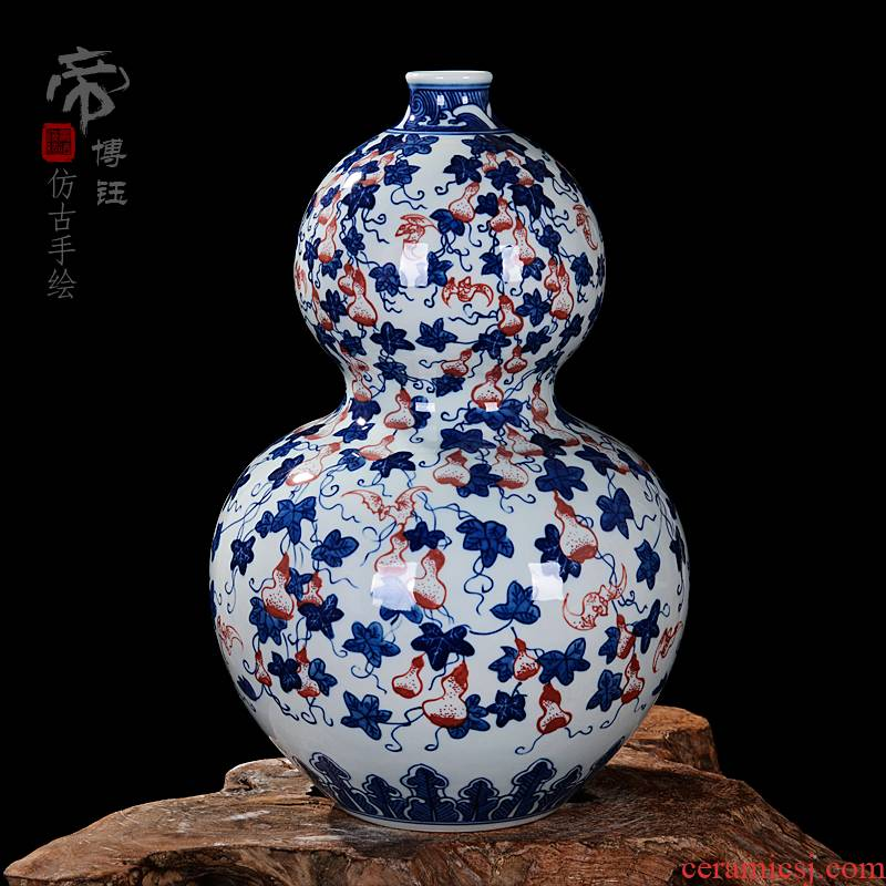 Jingdezhen ceramics gift hand - made antique blue - and - white buford gourd crafts household sitting room adornment