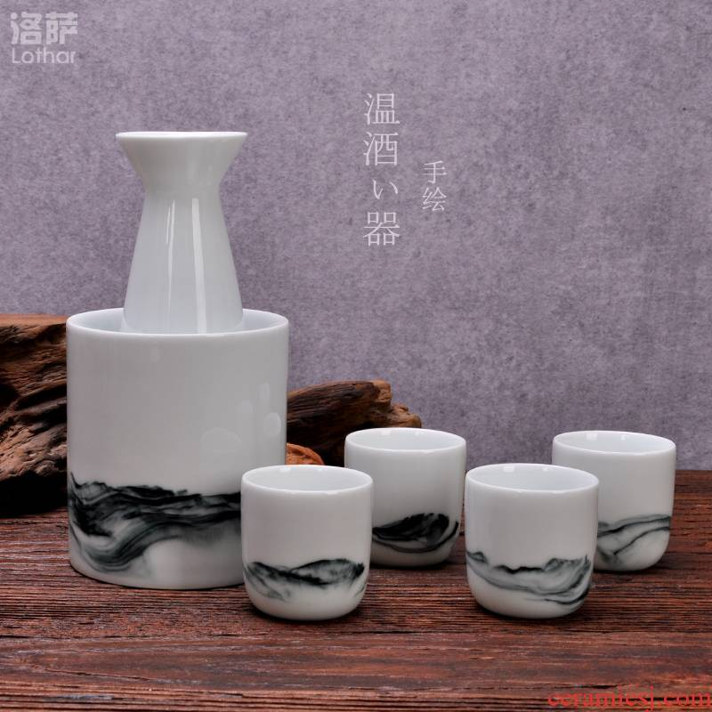 """Jingdezhen ceramic hand - made Japanese hot temperature wine pot clear wine set 6 piece warm wine hip suit can """"bringing gift boxes"""