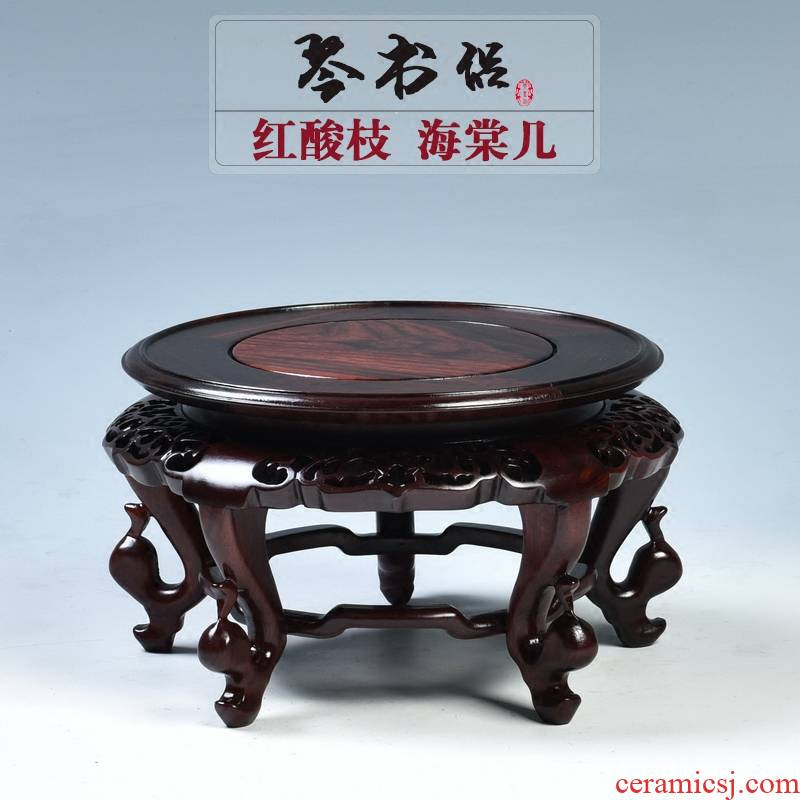 Pianology picking red mahogany acid branches crafts of Buddha lotus base round solid wood vases are it base