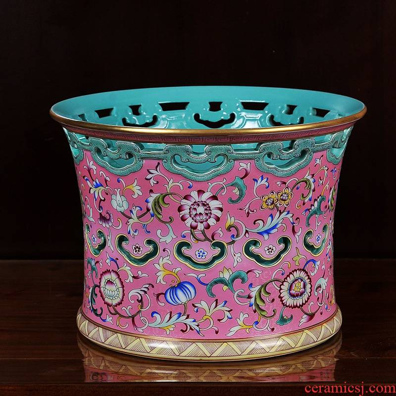 Grilled jingdezhen ceramics imitation the qing qianlong pastel pink flower crafts are hollow out bound branch lines brush pot vase