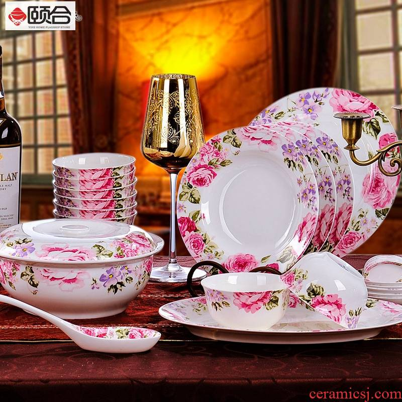 56 skull porcelain Korean tableware microwave oven rose bowl dish dish pan combination suit everyday gifts