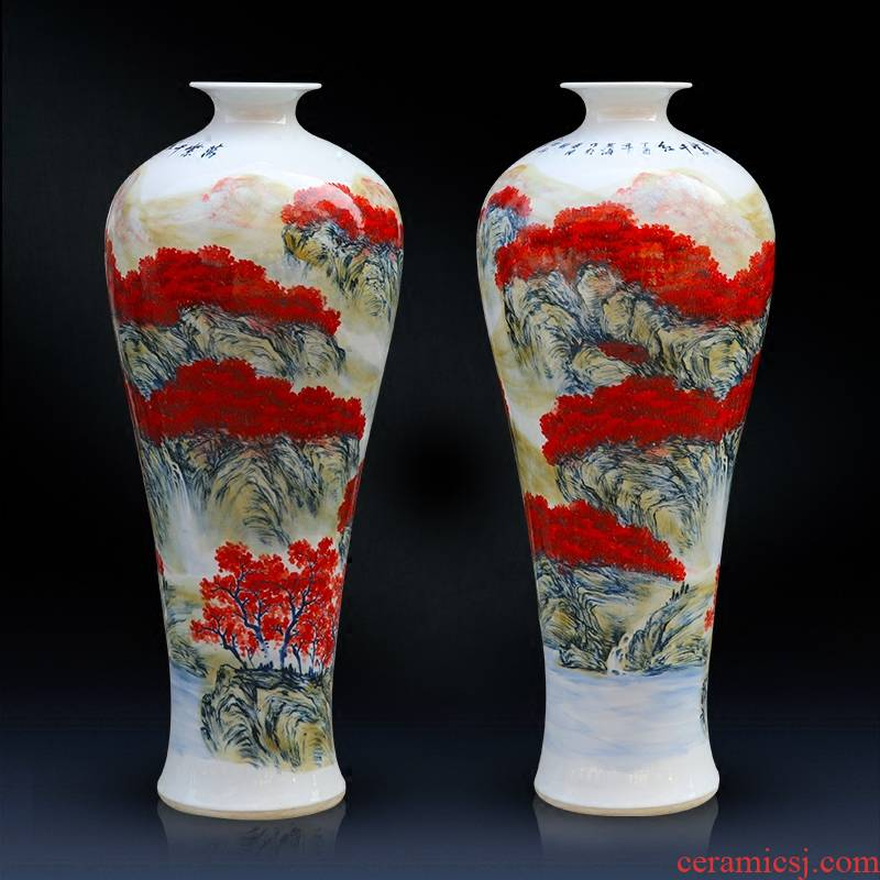 Jingdezhen ceramics pure hand - made vases landing large full name plum bottle sitting room place decorative arts and crafts