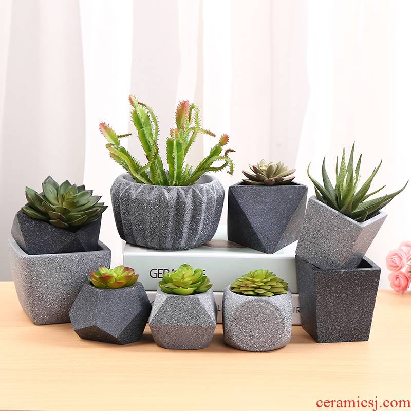 Cement meaty plant flower POTS, green potted indoors desktop furnishing articles European move biscuit firing breathable ceramic flower pot