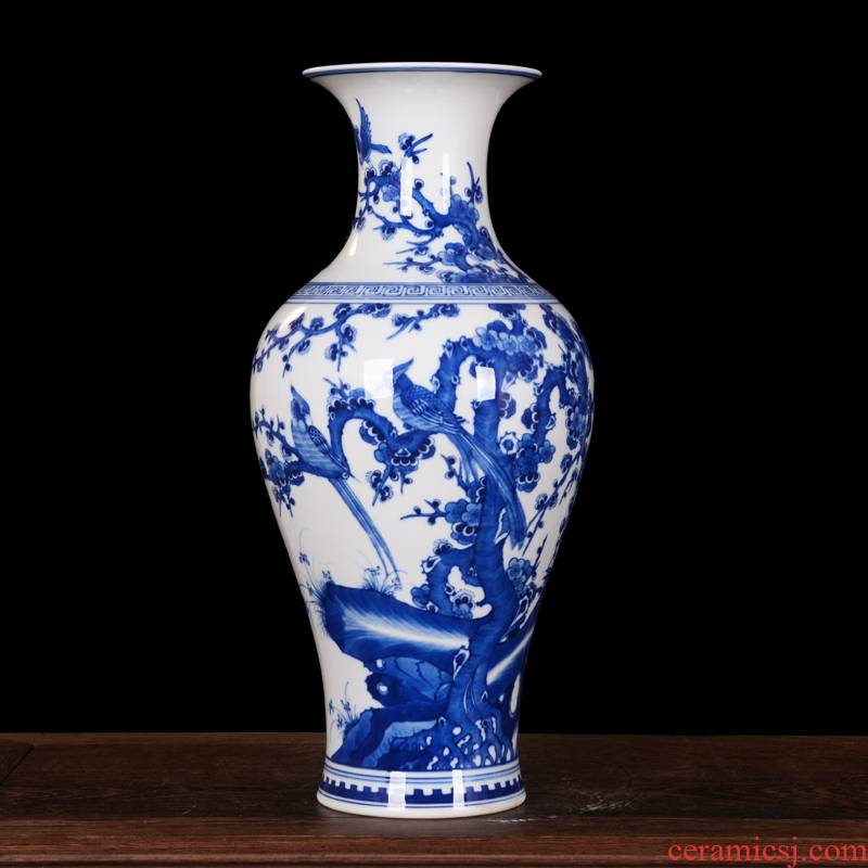 Jingdezhen blue and white vase birds home decoration high - end antique ceramics kangxi mei bottle process sitting room furnishing articles