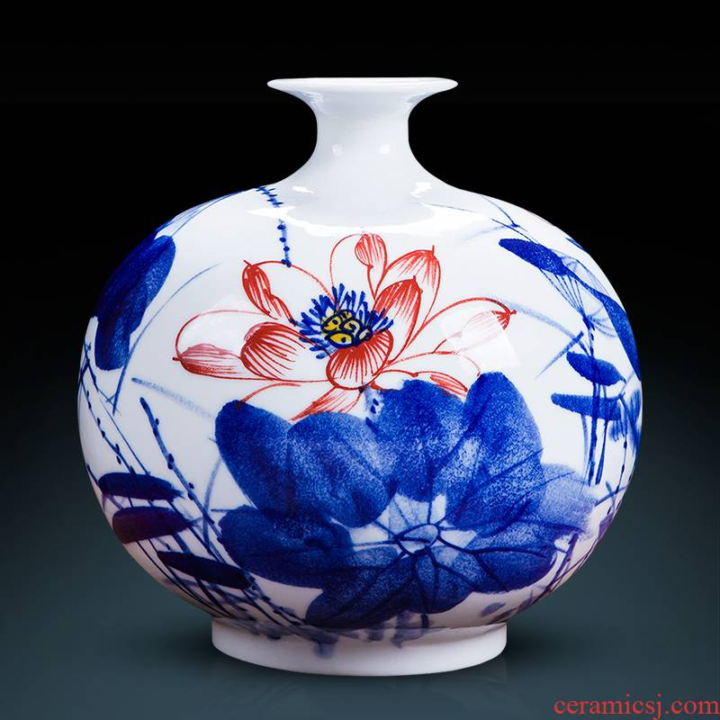 Famous master of jingdezhen ceramics hand - made of blue and white porcelain vases, flower arranging new sitting room of Chinese style household decorations furnishing articles