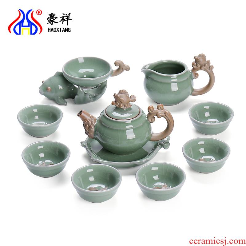 Open the slice hao auspicious elder brother up with porcelain ceramic kung fu tea set gift boxes of a complete set of household tureen teapot teacup gifts