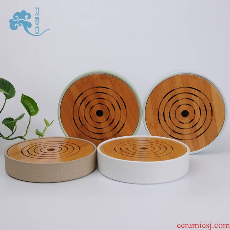 Ceramic tea tray tray was circular dry Taiwan Japanese contracted tea tea tea saucer Taiwan office household pot bearing