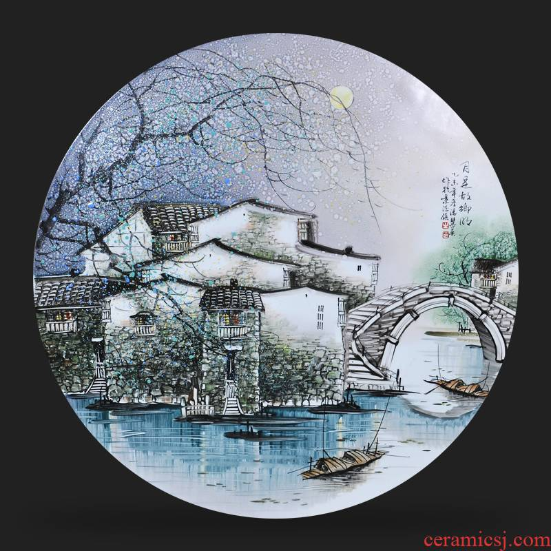 Jingdezhen ceramic Feng Huiying hand - made the month is motherland porcelain plate painter adornment picture hanging in the sitting room is placed