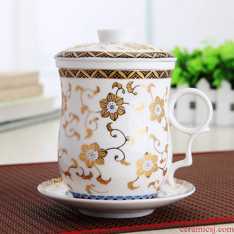 Ipads China cup suit jingdezhen ceramic four cup of flower tea boss office cup)