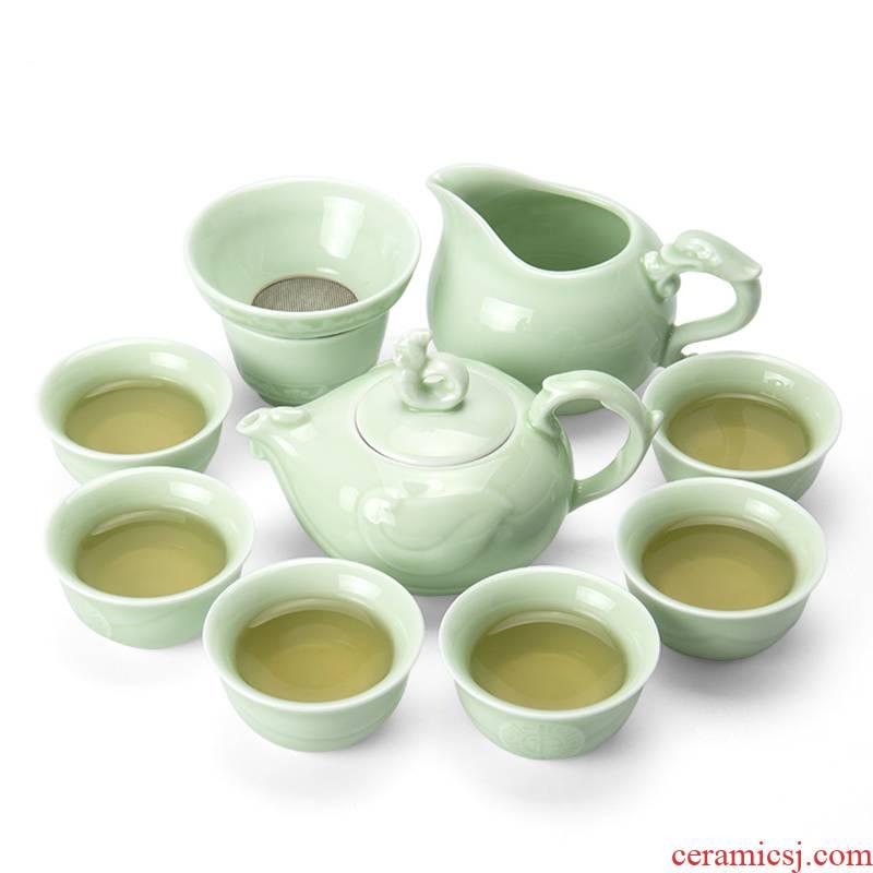Ronkin celadon kung fu tea set of a complete set of Japanese creative household contracted tea teapot teacup 6