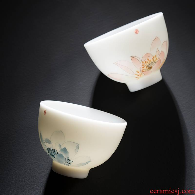 Dehua suet white jade porcelain teacup up large - sized ceramic sample tea cup pastel master individual single cup of tea