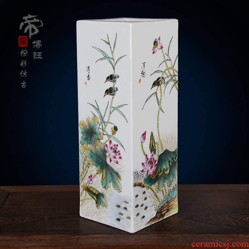 Jingdezhen ceramics imitation the qing qianlong pastel hand - made lotus lotus flower vases, antique household handicraft furnishing articles