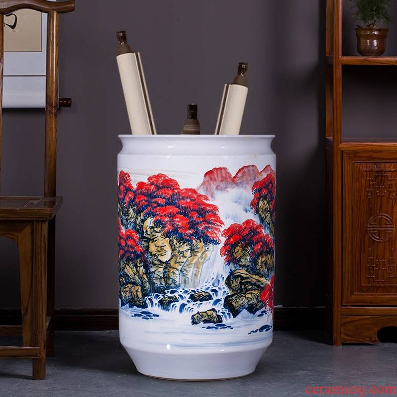 Jingdezhen ceramics big red vase hand - made home sitting room ground study decorative furnishing articles calligraphy and painting scroll cylinder