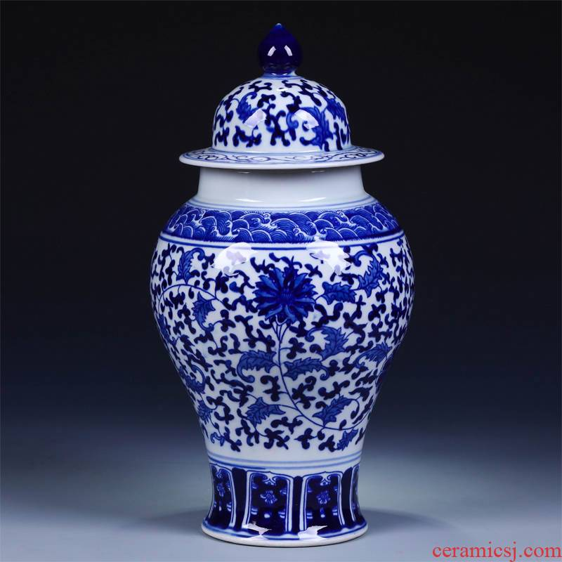 Jingdezhen ceramic vases, flower receptacle furnishing articles archaize the general pot of blue and white porcelain vase home sitting room fashion accessories