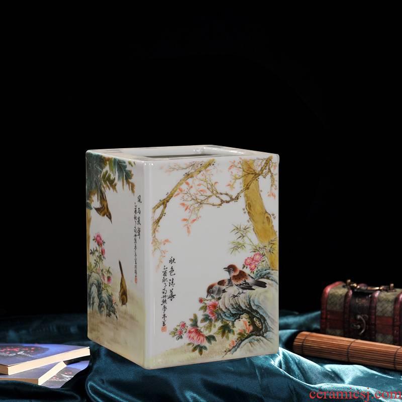 Jingdezhen ceramic vase high - end antique charactizing edged brush pot flower home decoration crafts