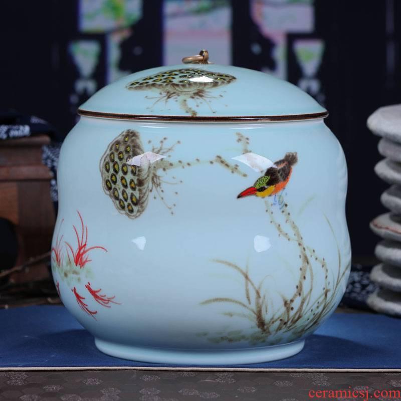 Jingdezhen ceramic manual sealing caddy fixings large gifts puer tea cake tin, household gift tea POTS