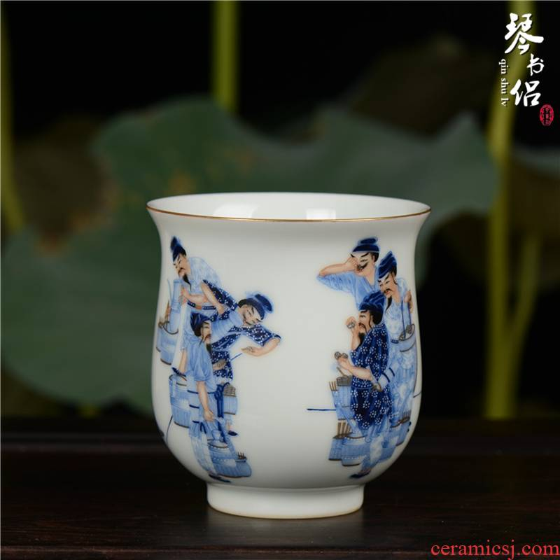 Pianology picking jingdezhen hand - made antique porcelain vases, home furnishing articles colored enamel characters dou tea cup of tea