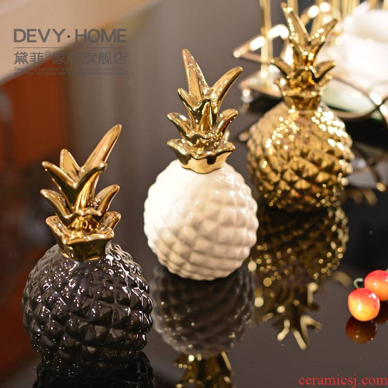 Contracted and I light key-2 luxury ceramic pineapple furnishing articles creative home Nordic wine sitting room adornment bedroom room