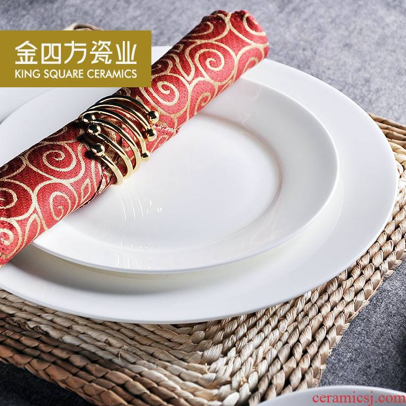Gold square white ipads China porcelain plate 6.5-10 inch flat disc plate beefsteak cold dishes dishes